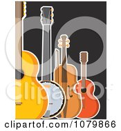 Clipart Guitar Banjo Violin And Ukulele On A Black Background Royalty Free Vector Illustration