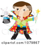 Clipart Magician Boy Holding A Rabbit In A Hat Royalty Free Vector Illustration