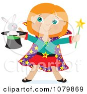 Clipart Magician Girl Holding A Rabbit In A Hat Royalty Free Vector Illustration