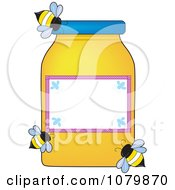 Clipart Three Bees Flying Around A Honey Jar With A Blank Label Royalty Free Vector Illustration by Maria Bell