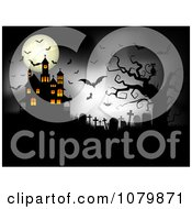 Clipart Dark Cemetery With A Cat Spider Bats Full Moon And Haunted House Royalty Free Vector Illustration
