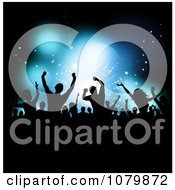 Clipart Silhouetted Dancing Crowd Over Blue Stage Lighting Royalty Free Vector Illustration