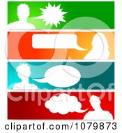 Clipart Silhouetted Talking Avatars With Copyspace On Colorful Banners Royalty Free Vector Illustration