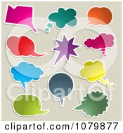Colorful Chat Balloons On Gray