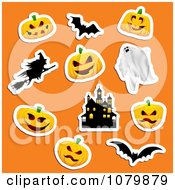Clipart Jackolantern Ghost Witch Haunted House And Bat Halloween Stickers On Orange Royalty Free Vector Illustration