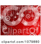 Christmas Background Of White Snowflake Baubles And Swirls On Red