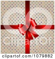Clipart Colorful Polka Dot Gift Box With A 3d Red Bow Royalty Free Vector Illustration