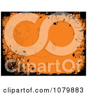 Orange Floral Grunge Background With Black Edges