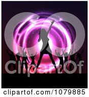 Clipart Silhouetted Singer And Dancers On Stage At A Concert Over Neon Lights Royalty Free Vector Illustration