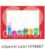 Clipart Red Polka Dot Frame Around Christmas Gifts And Snowflakes Royalty Free Vector Illustration