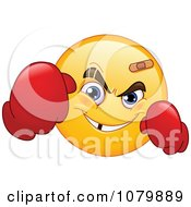 Clipart Yellow Emoticon Boxer Wearing Gloves Royalty Free Vector Illustration