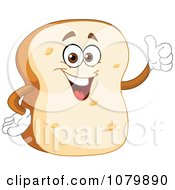 Clipart Bread Slice Character Holding A Thumb Up Royalty Free Vector Illustration by yayayoyo