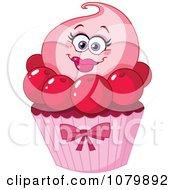 Clipart Cherry Cupcake Character Royalty Free Vector Illustration by yayayoyo