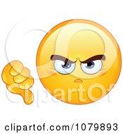 Clipart Yellow Emoticon Holding A Dislike Thumb Down Royalty Free Vector Illustration by yayayoyo #COLLC1079893-0157