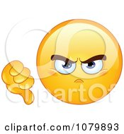 Clipart Yellow Emoticon Holding A Dislike Thumb Down Royalty Free Vector Illustration by yayayoyo
