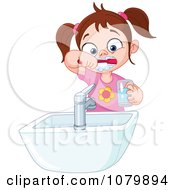 Clipart Brunette Girl Brushing Her Teeth Over A Sink Royalty Free Vector Illustration by yayayoyo