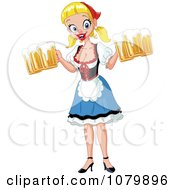Clipart Oktoberfest Girl Serving Pints Of Beer Royalty Free Vector Illustration