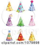 Clipart Colorful Party Hats Royalty Free Vector Illustration