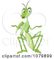 Clipart Friendly Green Praying Mantis Royalty Free Vector Illustration