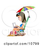 A Brunette Woman In A Blue Bikini Sandals And Sunglasses Seated In A Beach Chair Under An Umbrella Typing On A Laptop Computer Clipart Illustration