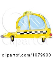 Clipart Yellow Taxi Cab Car With Checkered Siding Royalty Free Vector Illustration