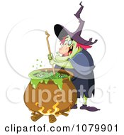 Clipart Ugly Witch Stirring Brew In A Cauldron Royalty Free Vector Illustration