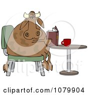 Cow Sitting At A Table And Reading A Book With Coffee