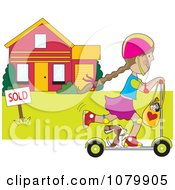 Clipart Girl And Dog Riding A Scooter Past A Sold House Royalty Free Vector Illustration