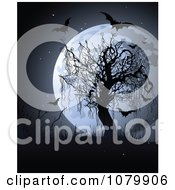 Full Moon Behind A Bare Tree With Weeds And Bats
