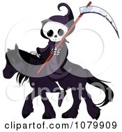 Clipart Grim Reaper With A Scythe On A Black Horse Royalty Free Vector Illustration