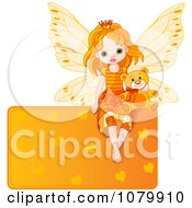 Clipart Cute Orange Fairy With A Teddy Bear On A Heart Sign Royalty Free Vector Illustration