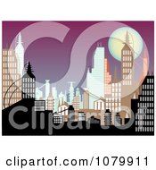 Clipart Background Of Urban Buildings At Dusk Royalty Free Vector Illustration