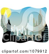 Clipart Background Of Urban Buildings During The Day Royalty Free Vector Illustration