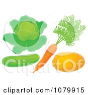 Clipart Cucumber Lettuce Carrot And Potato Royalty Free Illustration