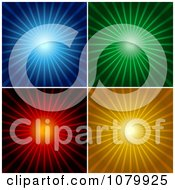 Blue Green Red And Orange Shining Ray Backgrounds