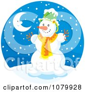 Clipart Snowman And Crescent Moon On A Snowing Winter Night Royalty Free Vector Illustration