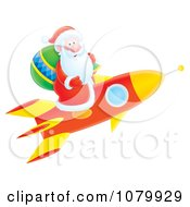 Clipart Santa Taking Off On A Rocket Royalty Free Illustration