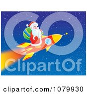 Clipart Santa Shooting Off On A Rocket Royalty Free Illustration