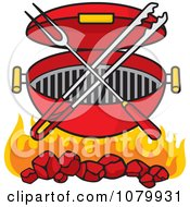 Charcoal Grill With Utensils And Flames