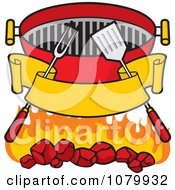 Clipart Blank Banner Charcoal Grill Utensils And Flames Royalty Free Vector Illustration