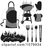 Clipart Black And White BBQ Items Royalty Free Vector Illustration