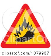 Clipart Spicy Hot Chili Pepper Warning Sign Royalty Free Vector Illustration