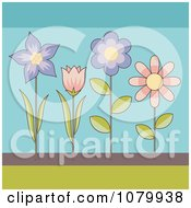 Clipart Purple And Pink Flowers On Blue Royalty Free Vector Illustration