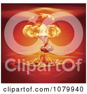 Clipart Nuclear Explosion Mushroom Cloud And Red Sky Royalty Free Vector Illustration