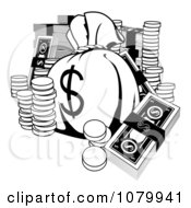 Clipart Black And White Money Bag With Cash And Coins Royalty Free Vector Illustration by AtStockIllustration