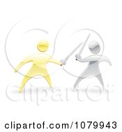 Clipart 3d Gold And Silver Men Fencing With Swords Royalty Free Vector Illustration