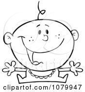 Clipart Happy Outlined Baby Holding His Arms Out Royalty Free Vector Illustration
