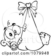 Clipart Outlined Baby In A Bundle Royalty Free Vector Illustration