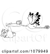 Clipart Outlined Baby Adoption Stork With A Child Royalty Free Vector Illustration by Hit Toon