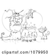 Clipart Outlined Cat Watching An Ugly Halloween Witch Holding A Frog Over A Cauldron Royalty Free Vector Illustration